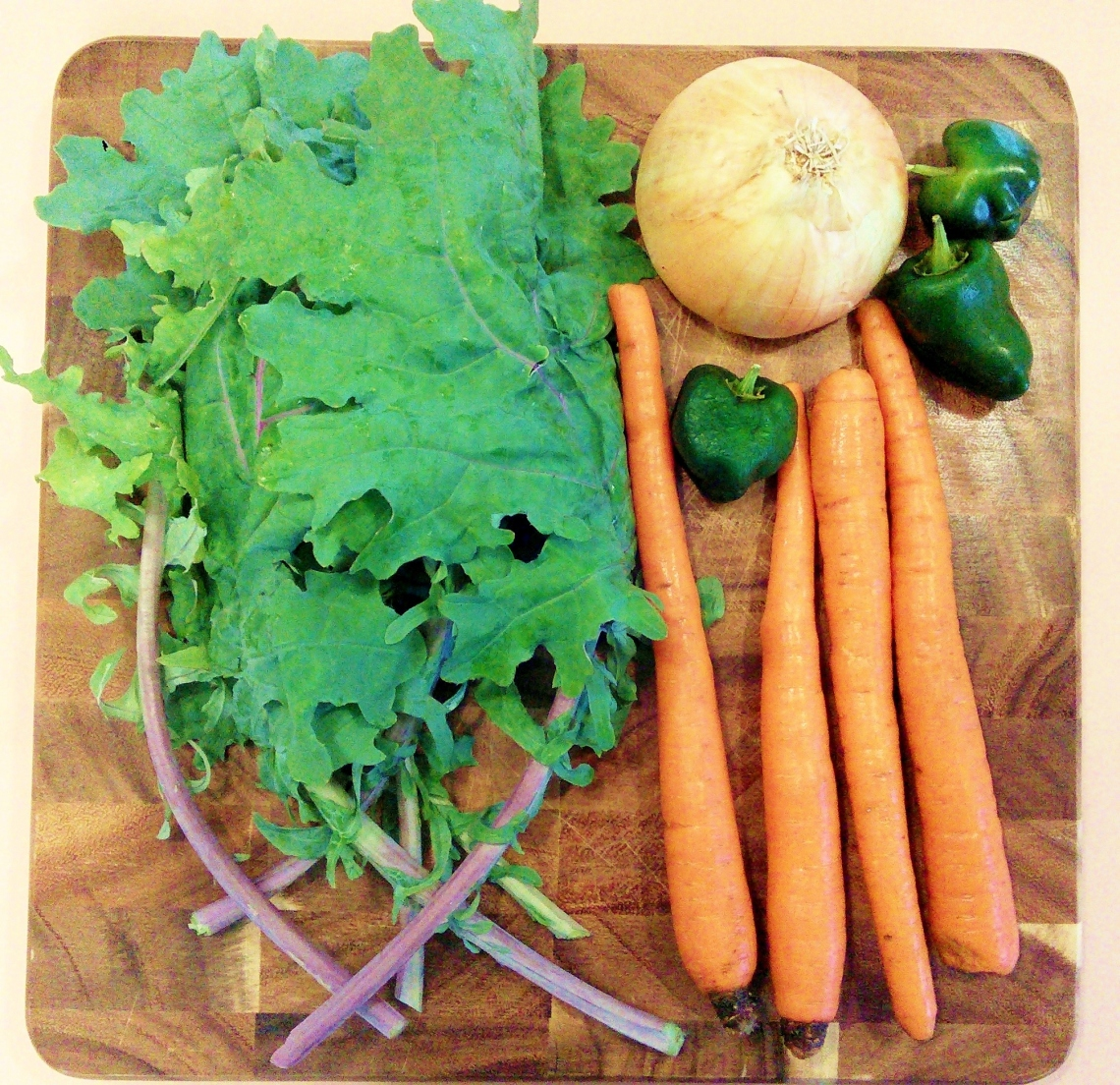 kale onion carrot peppers