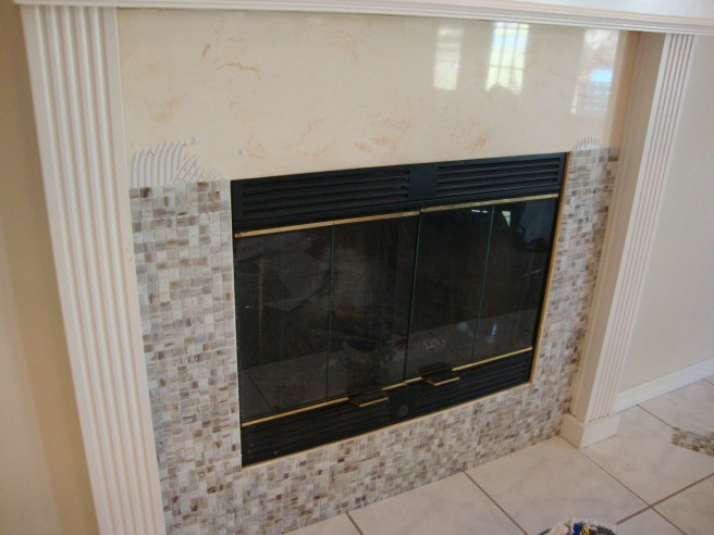 mosaic tile fireplace makeover