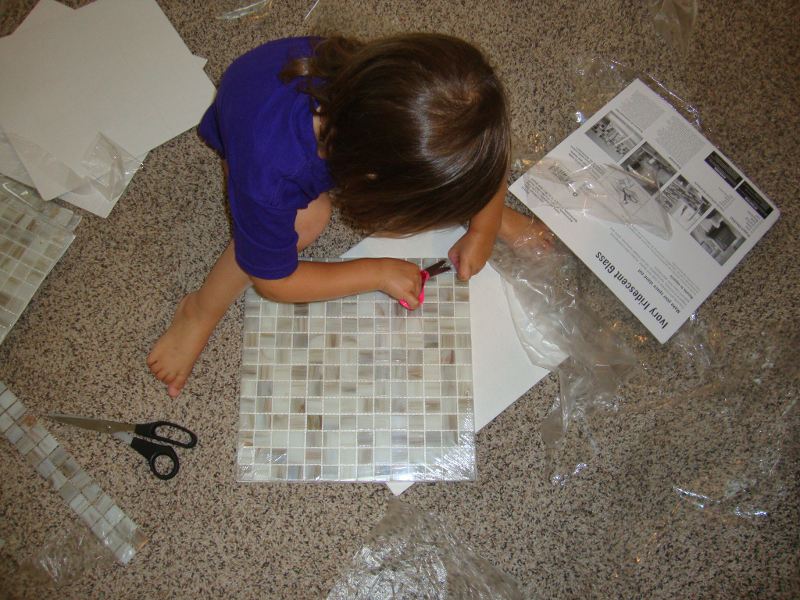 mosaic tiles fireplace makeover