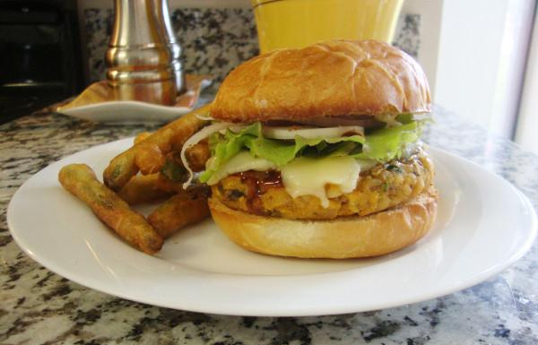 veggie burger green bean fries