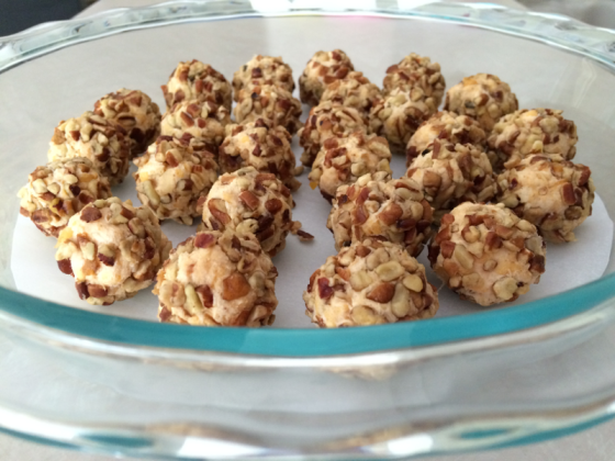caramelized onion balls nuts cheddar