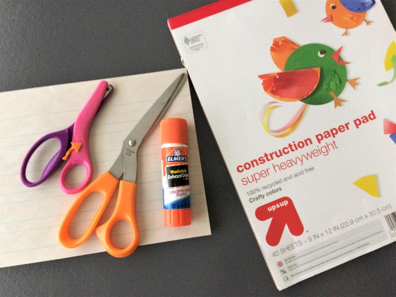 alphabet flap supplies scissors glue paper